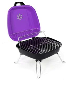 Mini Koffer- Grill Holzkohle - ca 34 mal 36 cm Grillfläche - Lila - Ansicht 2