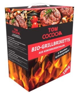 Tom Cococha - Kokos Grillbriketts, 10 kg - long burn - Ansicht Karton