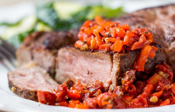 Lendensteak in Tomaten Annanas Salsa Mark