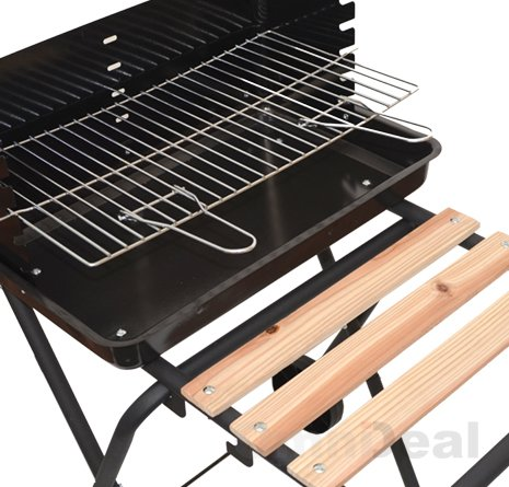Holzkohle Grilltrolley Florida - Ablage aus Holz & Grillrost